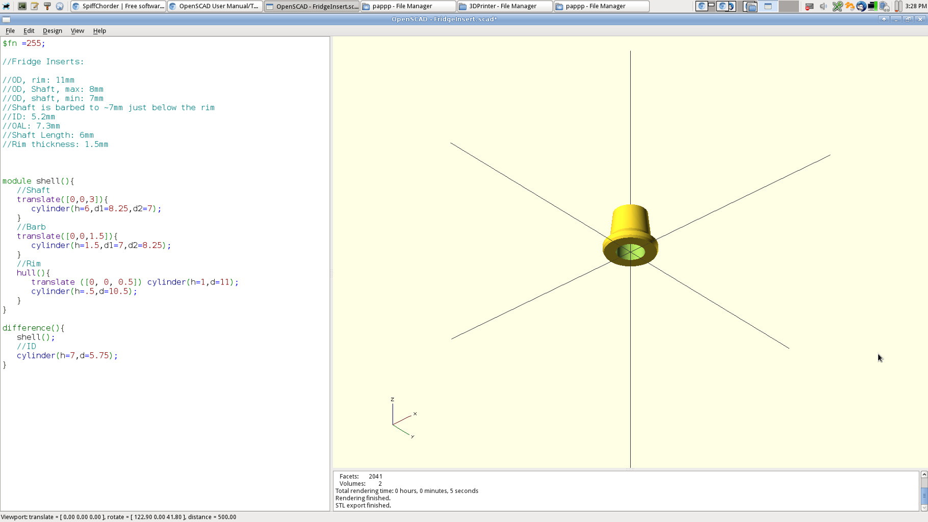 Grab some calipers and describe the bushings to OpenSCAD.