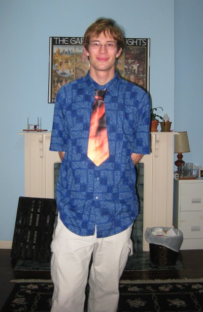 Blue print shirt, flame tie, win.