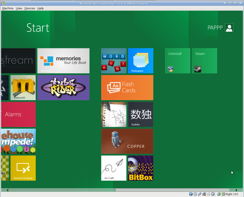 The Windows8 DP Launcher Screen