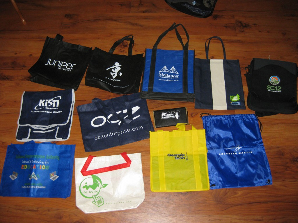The various bags I brought back from SC12