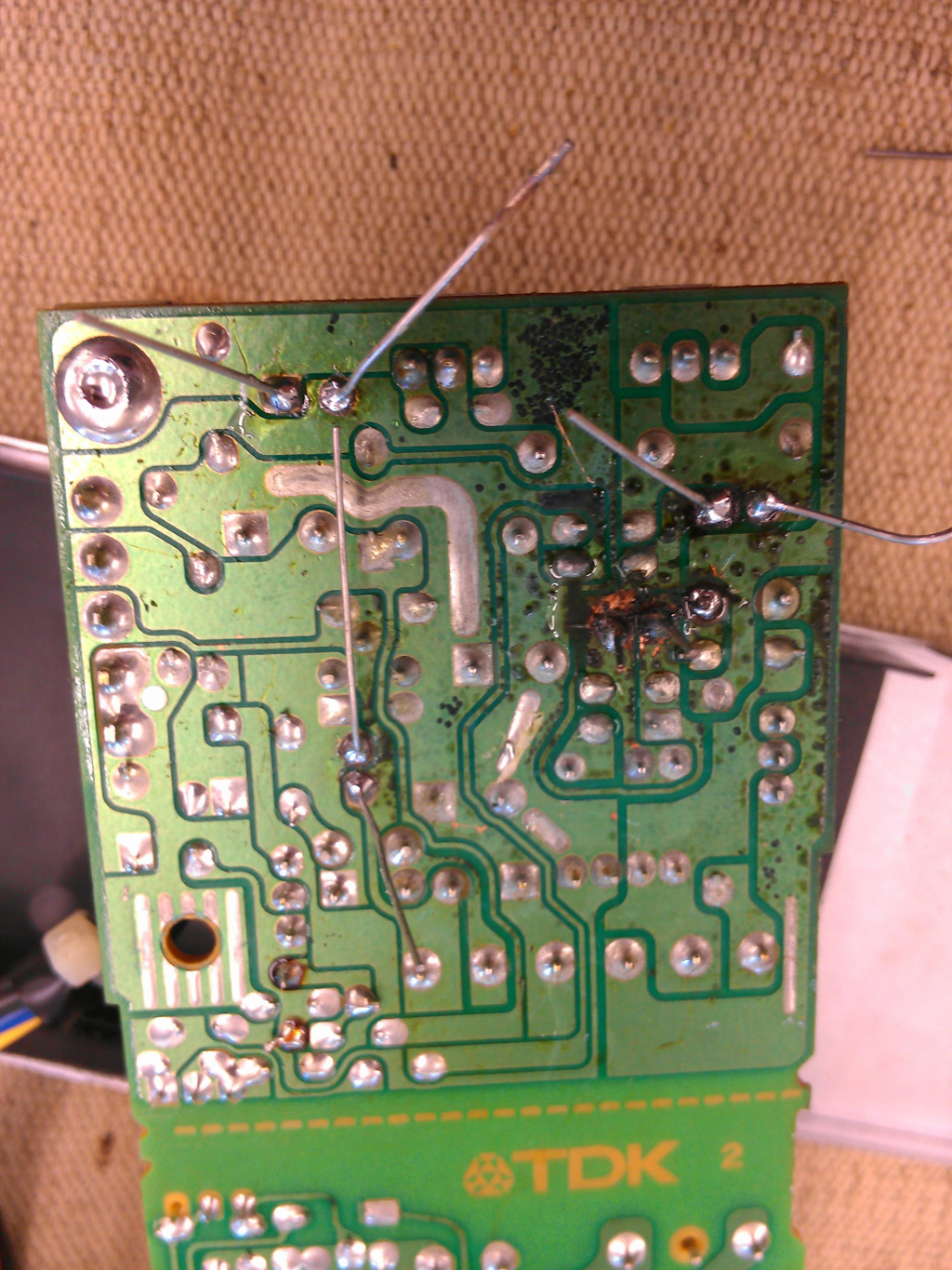 Corroded PCB in the LC PSU.