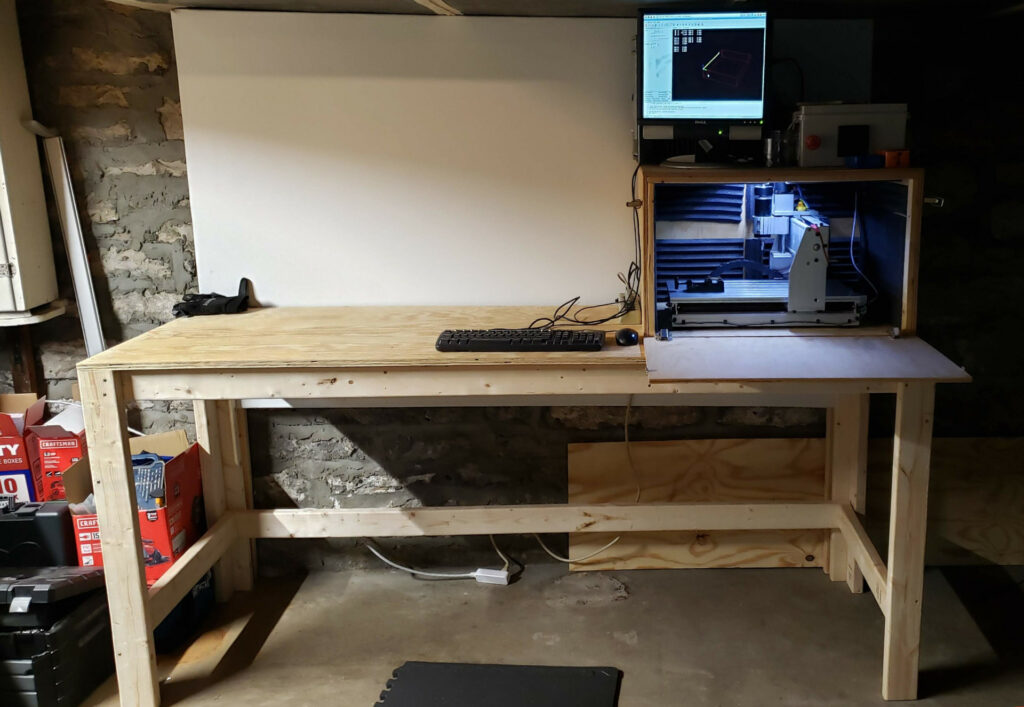 New workbench with powered CNC router system.