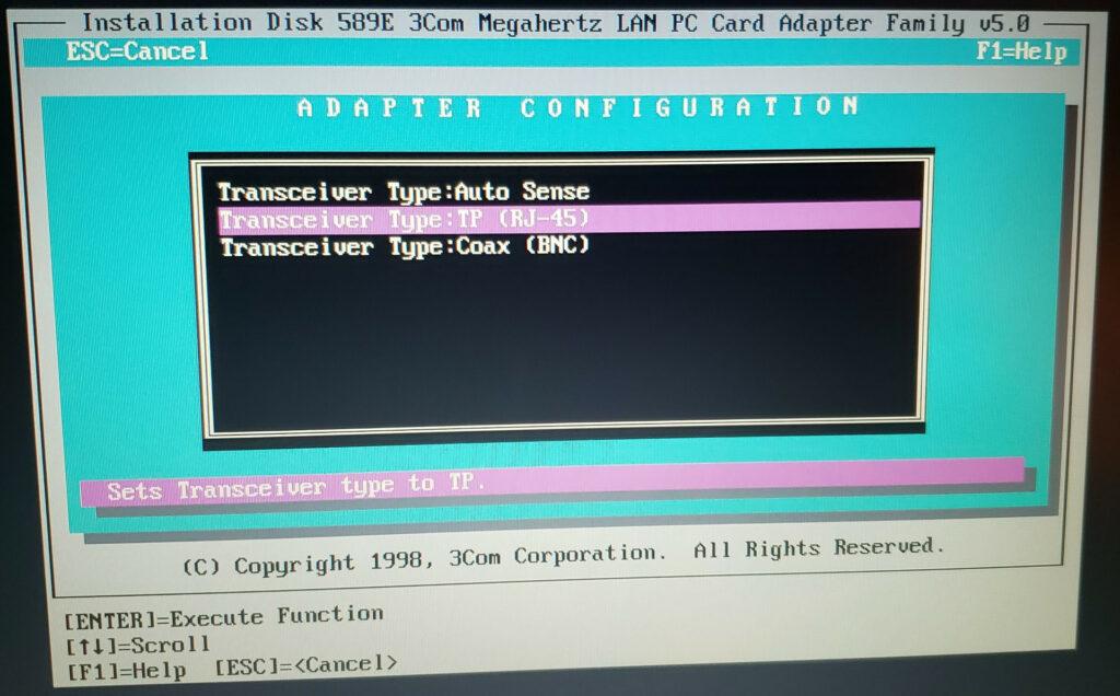 Transceiver Selection screen of the 3Com 589 DOS configuration utility.