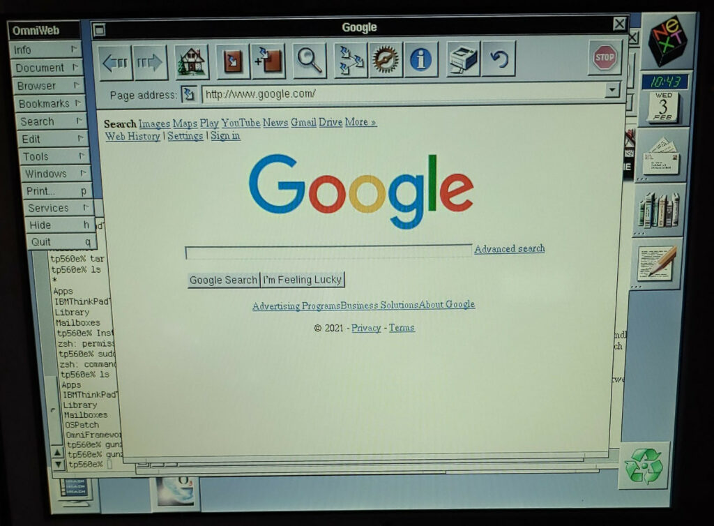 Google being displayed in OmniWeb 3.1 on OpenStep 4.2.  In 2021.