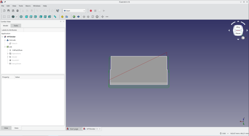FreeCAD render of tool-path, with process tree visible.